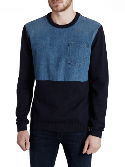 DENIM KNIT CREW NECK