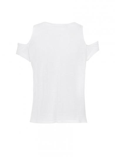 T-Shirt Branco Detalhe Ombro