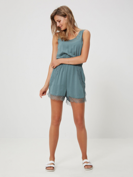 NEWMAKER LACE PLAYSUIT SOLID