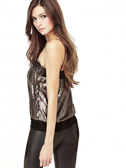 GUESS WOMEN SEQUINS AND LACE INSERTS TOP