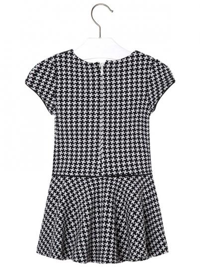 Vestido de menina manga curta com gola de camisa Mayoral