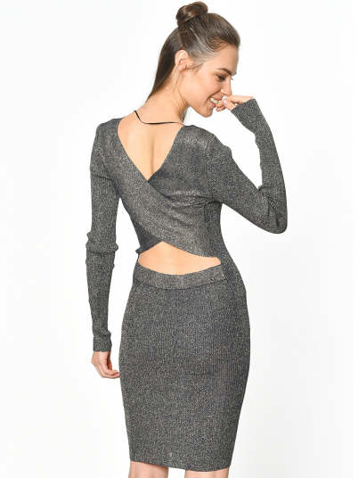 VESTIDO VICTORY L/S CROSS BACK KNIT DRESS