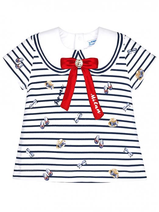 T-shirt menina de riscas e laço Mayoral