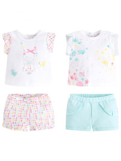 Conjunto quatro peças menina camisa e calças curtas Mayoral