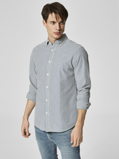 Shirt Man Blue Stripe Selected