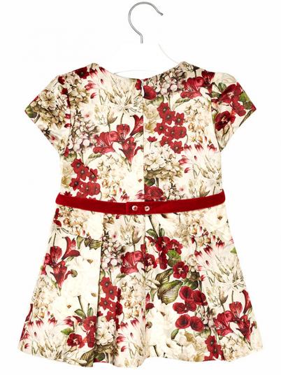 Vestido veludo flores para menina Mayoral