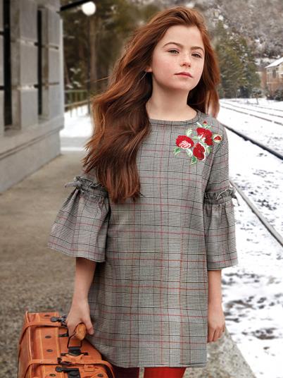 Vestido quadrados gales para menina Mayoral