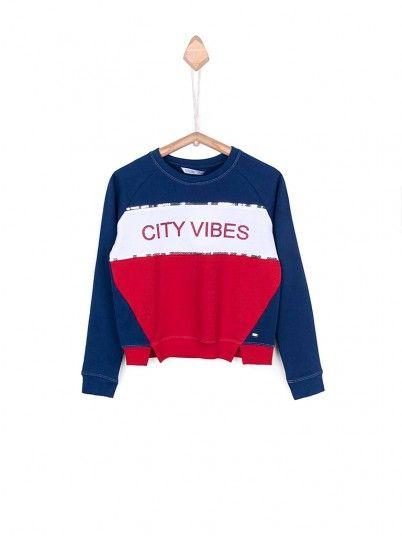 Sweatshirt Girl Navy Blue Tiffosi Kids