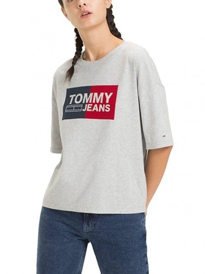 T-Shirt Mujer Gris Tommy DW0DW05711