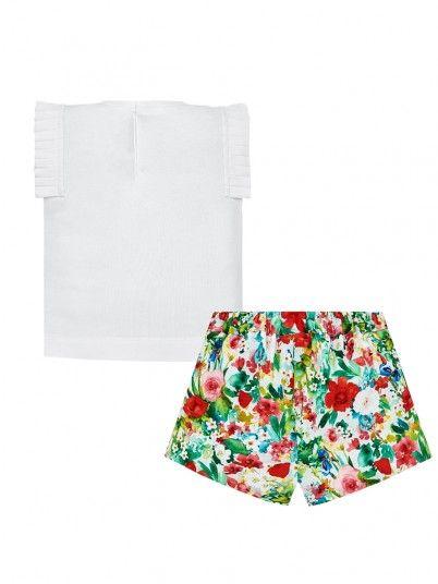 Conjunto camisola e bermudas flores bebé menina Mayoral