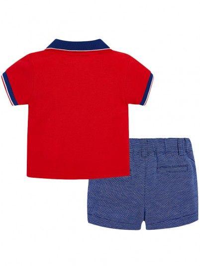 Conjunto polo e calças contraste bebé recém nascido Mayoral