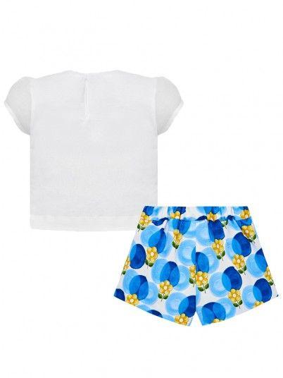 Conjunto camisola e bermudas estampadas bebé menina Mayoral