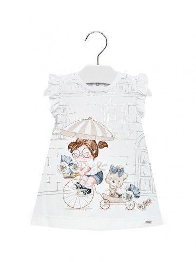 Vestido reto desenho bebé menina Mayoral