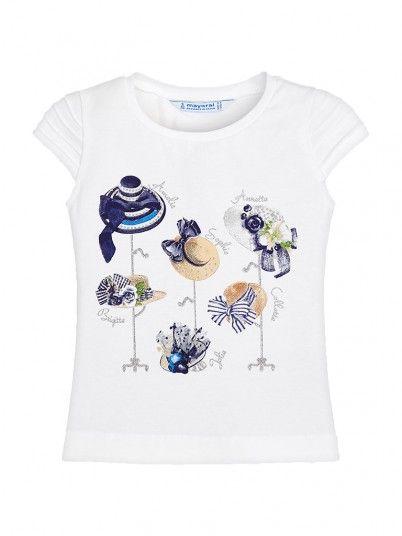 T-shirt manga curta chapéus menina Mayoral