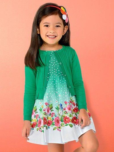 Vestido bolinhas faixa floral menina Mayoral