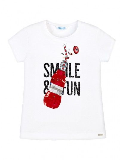 T-shirt manga curta lantejoulas menina Mayoral