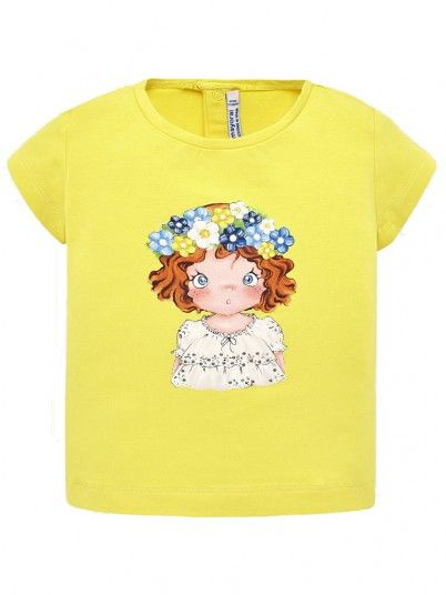 T-Shirt Baby Girl Yellow Mayoral N191014