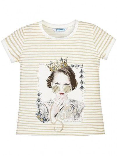 T-shirt riscas manga curta menina Mayoral