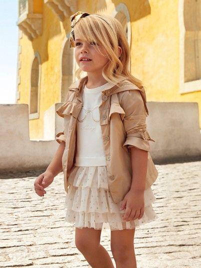 Vestido combinado tule com desenho menina Mayoral