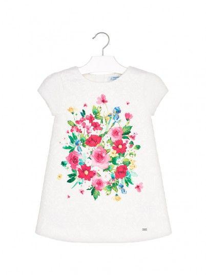 Vestido desenho floral mini menina Mayoral