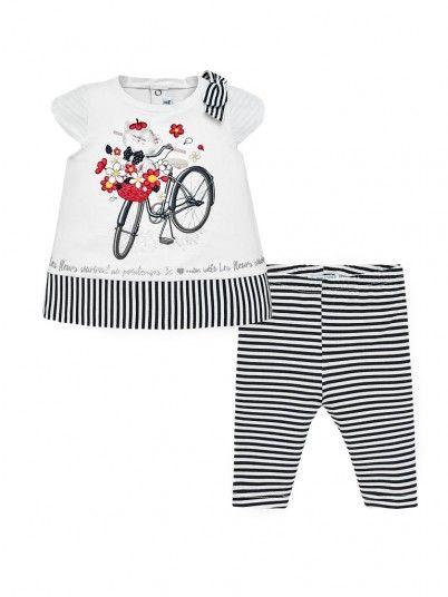 Conjunto leggings riscas e t-shirt bebé menina Mayoral