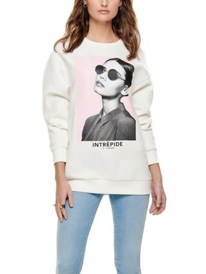Sweatshirt Women Cream Only 15173003