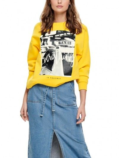 Sweatshirt Women Yellow Only 15173003