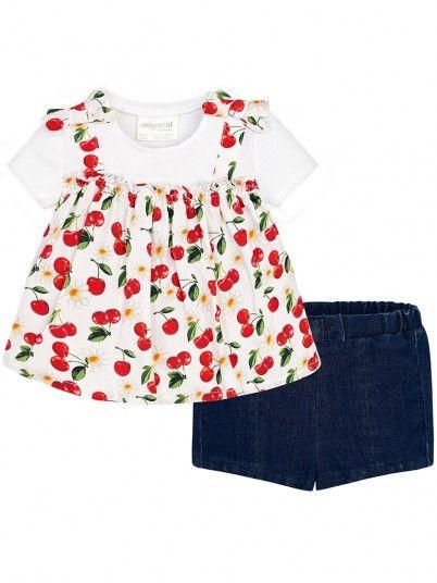 Conjunto blusa e calções bebé recém nascida Mayoral