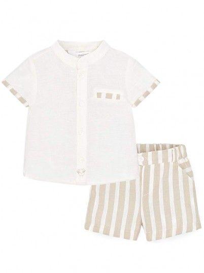 Conjunto camisa e calção riscas bebé recém nascido Mayoral
