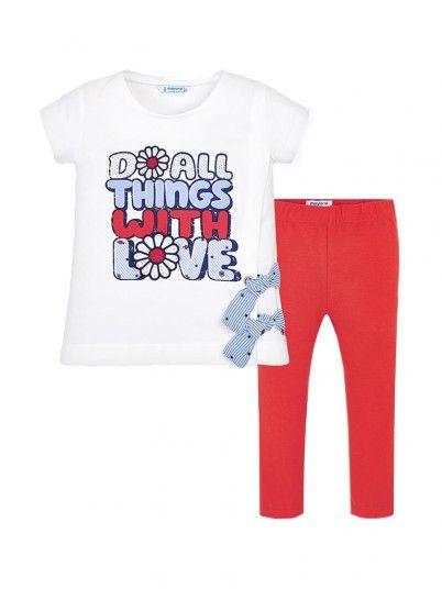 Conjunto camisola texto e leggings menina Mayoral