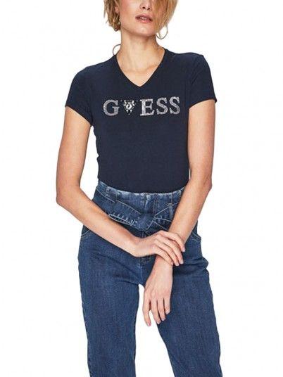 T-Shirt Mujer Azul Marino Guess W92I80K6YW0
