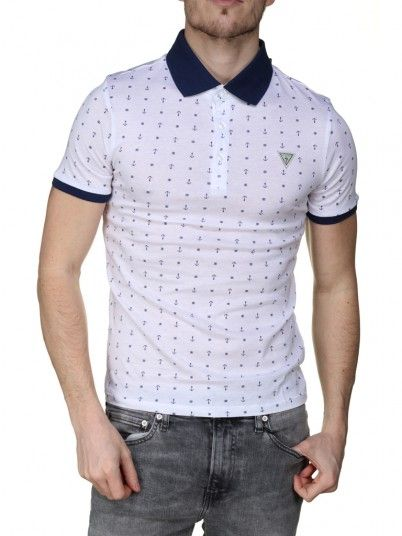 Polo Shirt Men White Guess M92P19K8FO0