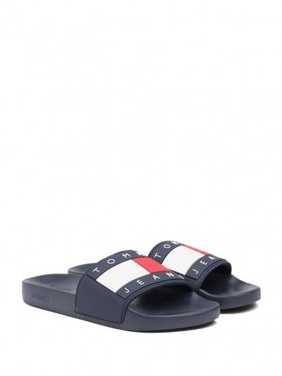 Slippers Man Pool Navy Blue Tommy Jeans Footwear