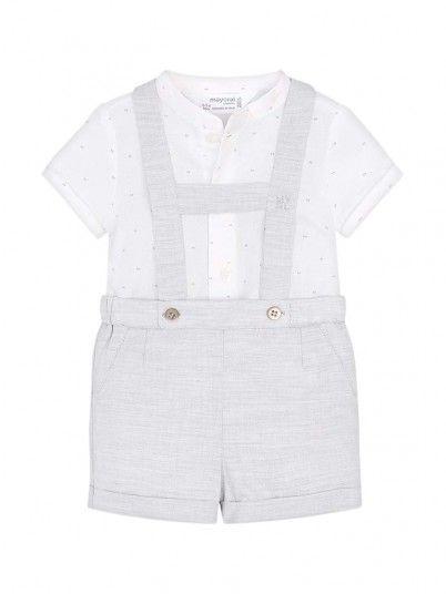Conjunto camisa e calção com alças bebé recém nascido Mayoral