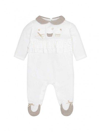 Pijama comprido folhos bebé recém nascida Mayoral