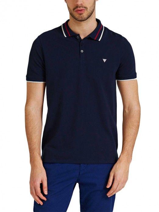 2e162731 Polo Shirt Men Navy Blue Guess M92P08K7O60 | Mellmak