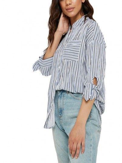 Camisas Mujer Azul Risca Only 15176409