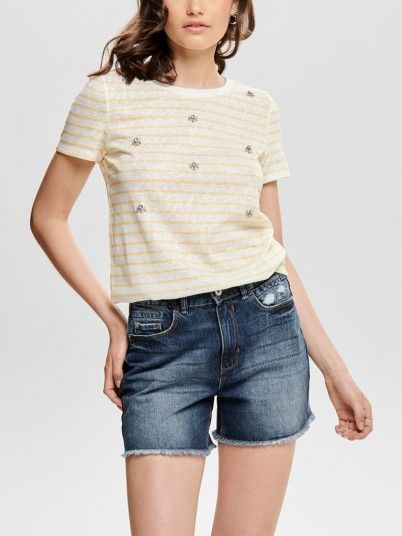T-Shirt Mujer Amarillo Only 15179554