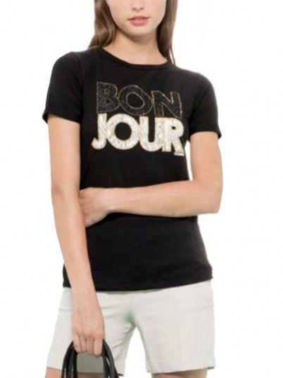 T-Shirt Women Black Fracomina FR19SM025