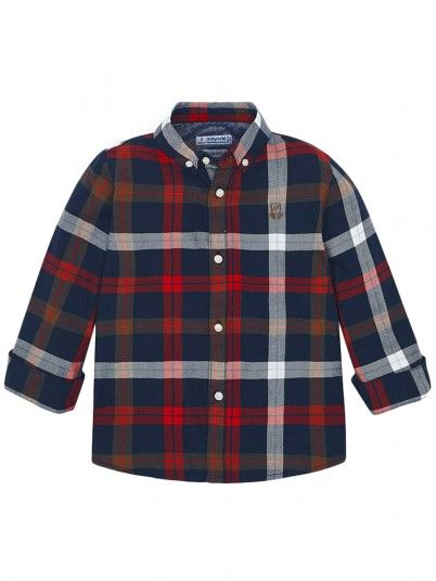 Camisa manga comprida quadrados menino Mayoral