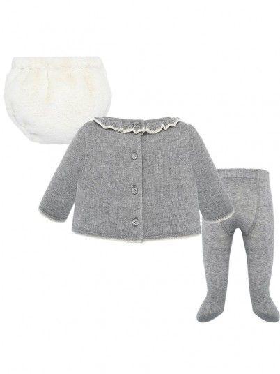 Conjunto jersey e cuequinha laço bebé menina Mayoral