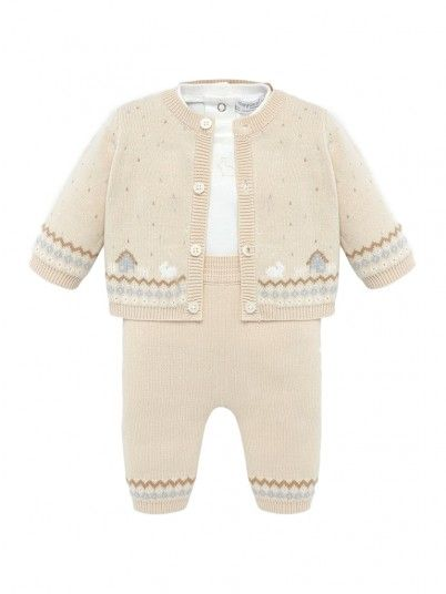 Conjunto casaco,camisola e calças bebé menino Mayoral