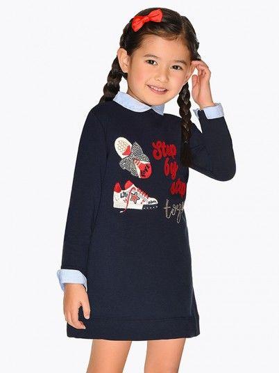 Vestido bordado sapatilhas menina Mayoral