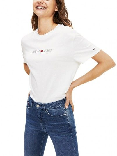T-Shirt Woman Liner White Tommy Jeans