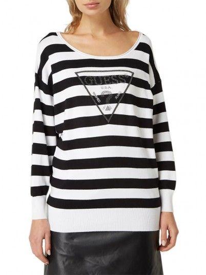 Sweatshirt Mujer Negro Con Blanco Guess