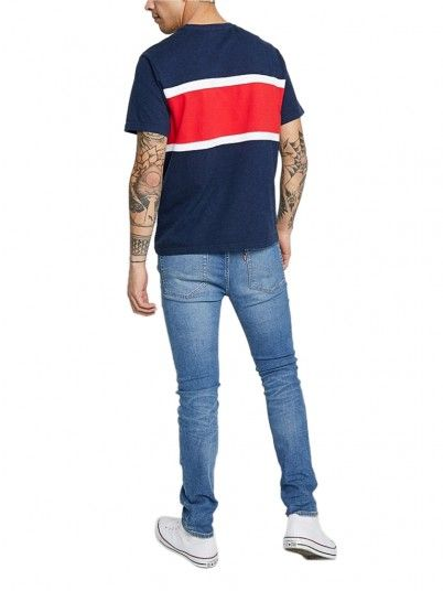 T-Shirt Man Colorblock Navy Blue Levis