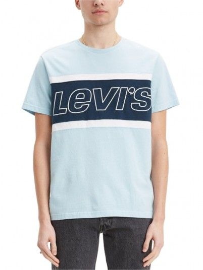 T-Shirt Man Colorblock Blue Levis