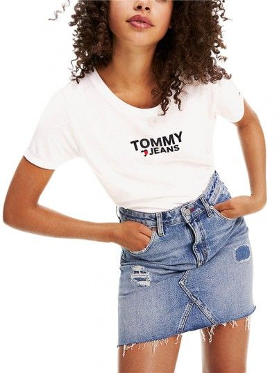 T-Shirt Woman Corp White Tommy Jeans