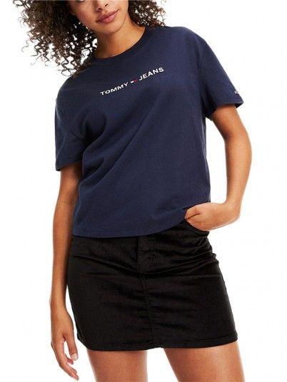 T-Shirt Woman Liner Navy Blue Tommy Jeans