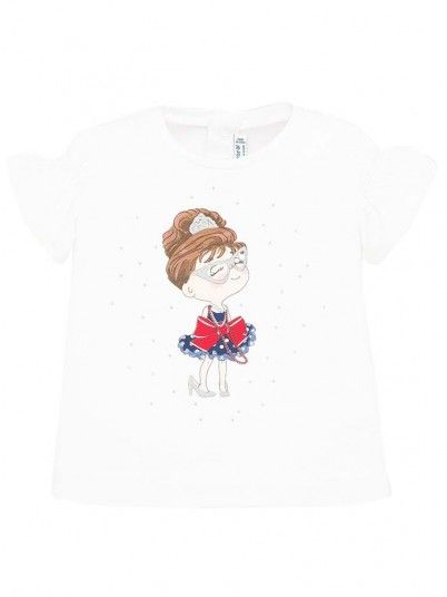 T-Shirt Bambina Comprida Bianco Mayoral